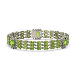 26.21 ctw Ruby & Diamond Halo Bracelet 10K White Gold