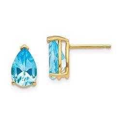 14k 9x6 mm Pear Blue Topaz Earrings