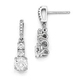 Sterling Silver & Zirconia 3 Stone Dangle Earrings