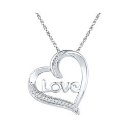 Sterling Silver Round Diamond Linked Infinity Heart Pendant 1/8 Cttw