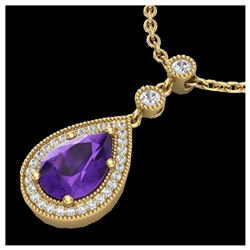 0.90 ctw Halo VS/SI Diamond Necklace 18K White Gold