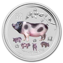 2019 Australia 2 oz Silver Lunar Pig BU (Colorized)