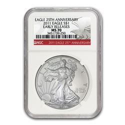 2011 Silver Eagle MS-70 NGC (25th Anniv\, Red Label\, ER)