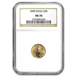 2005 1/10 oz Gold American Eagle MS-70 NGC