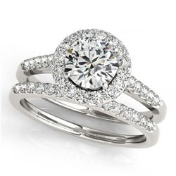 1.78 ctw VS/SI Diamond 2pc Wedding Set Halo 14K Rose Gold