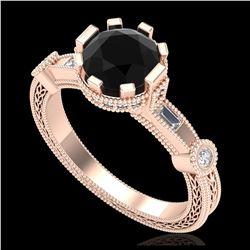 1.51 ctw Fancy Black Diamond Art Deco Ring 18K White Gold