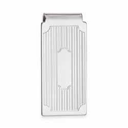 Rhodium-plated Hinged Money Clip with Lines and Cut Corners