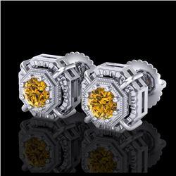 10.4 ctw Sky Topaz & Diamond Halo Earrings 10K Yellow Gold