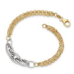 14k Gold Two-tone Diamond Cut & Polished Fancy Link Bracelet