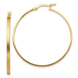 14k Yellow Gold Brushed & Polished 2 mm Hoop Earrings - 40 mm