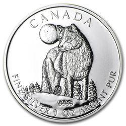 2011 Canada 1 oz Silver Wildlife Series Wolf