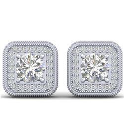 17.30 ctw Emerald & Diamond Earrings 14K White Gold