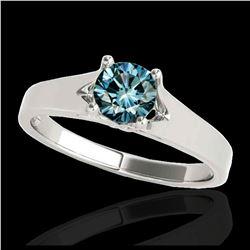 2.25 ctw SI Fancy Blue Diamond Halo Ring 10K Rose Gold