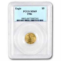 1986 1/10 oz Gold American Eagle MS-69 PCGS
