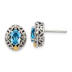 Sterling Silver w/ 14k Accent Blue Topaz Post Earrings - 54 mm
