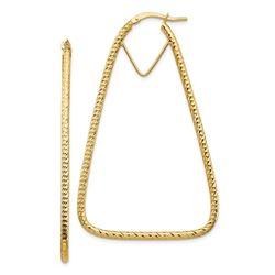 14k Yellow Gold Diamond-cut Triangle Hoop Earrings