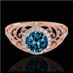 1.55 ctw VS Black Diamond Solitaire Halo Ring 10K White Gold