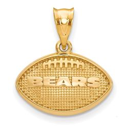 Sterling Silver Gold-plated Chicago Bears Football Pendant
