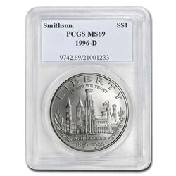 1996-D Smithsonian $1 Silver Commem MS-69 PCGS