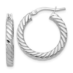 14k White Gold Polished Twisted Hoop Earrings - 3 mm