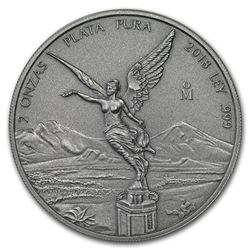 2018 Mexico 2 oz Silver Libertad Antiqued Finish (In Capsule)