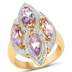 14K Yellow Gold Plated 0.61 ctw Genuine Multi Diamond .925 Sterling Silver Ring