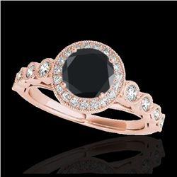 1.01 ctw Intense Fancy Yellow Diamond Art Deco Ring 18K White Gold