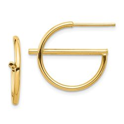 14k Yellow Gold Split Circle Post Earrings