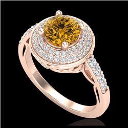 3.50 ctw Sky Blue Topaz & VS/SI Diamond Halo Ring 14K Rose Gold