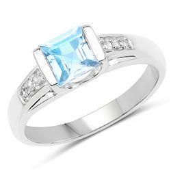 1.16 ctw Genuine Tanzanite and White Diamond .925 Sterling Silver Ring