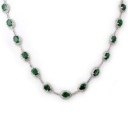 11.99 ctw Sapphire & Diamond Necklace 14K White Gold