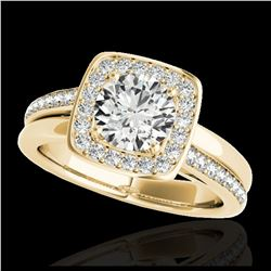 2 ctw Ruby & Halo VS/SI Diamond Ring 18K Yellow Gold