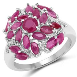 14K Yellow Gold Plated 0.85 ctw Genuine Amethyst and White Topaz .925 Sterling Silver Ring