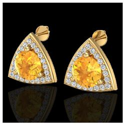 1.08 ctw Intense Fancy Yellow Diamond Art Deco Ring 18K Rose Gold