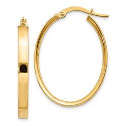 14k 19 mm Oval Hoop Earrings