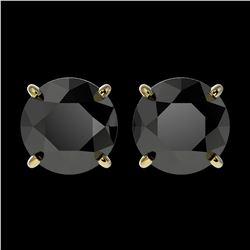 1 ctw Fancy Black Diamond Art Deco Stud Necklace 18K Yellow Gold