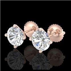 6 ctw Sky Blue Topaz & VS/SI Diamond Earrings  10K Rose Gold