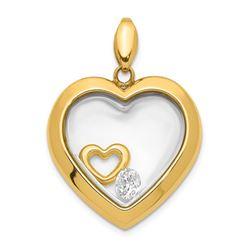 14k Yellow Gold CZ Heart Glass Pendant - 25 mm