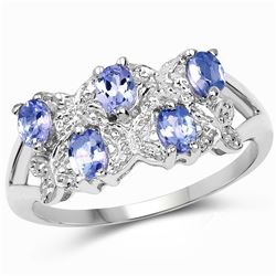 1.03 ctw Genuine Tanzanite and White Diamond .925 Sterling Silver Ring