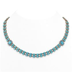 3.51 ctw Blue Sapphire & Diamond Bracelet 18K White Gold