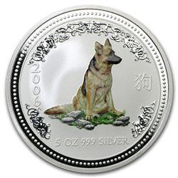 2006 Australia 5 oz Silver Year of the Dog BU (Colorized)