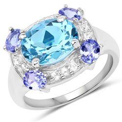 2.50 ctw Aquamarine & VS/SI Diamond Ring 18K White Gold