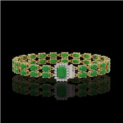 14.82 ctw Sky Topaz & Diamond Halo Bracelet 10K Rose Gold