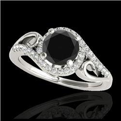 0.56 ctw Fancy Black Diamond Art Deco Ring 18K Rose Gold