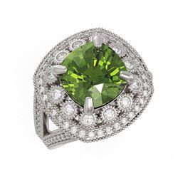 11.78 ctw Tourmaline & Diamond Earrings 14K White Gold