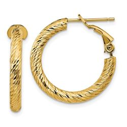 14k Yellow Gold Diamond-cut Omega Back Hoop Earrings - 3x15 mm