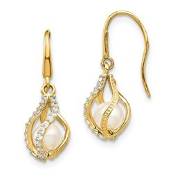 14k Yellow Gold White Cultured Pearl Cubic Zirconia Earrings