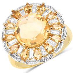 2 ctw Citrine & VS/SI Diamond Necklace 18K Yellow Gold