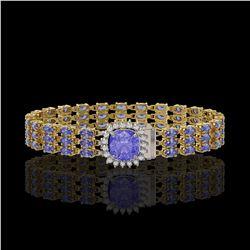 4 ctw Sapphire & VS/SI Diamond Heart Necklace 14K Yellow Gold