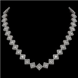 90 ctw London Blue Topaz & VS/SI Diamond Necklace 14K Yellow Gold